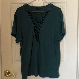 Large Express Deep V-neck Lace up short sleeve tee